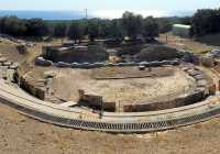 Ancient Greek theater Marwneia Rhodope Greece panoramic