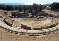 Ancient Greek theater Marwneia Rhodope Greece panoramic