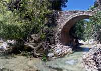 Traditional bridge in nature area Myles, of Mylopotamos village, Kythersa