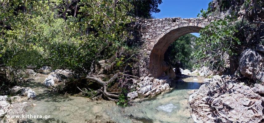 Traditional bridge in nature area Myles, of Mylopotamos village, Kythersa