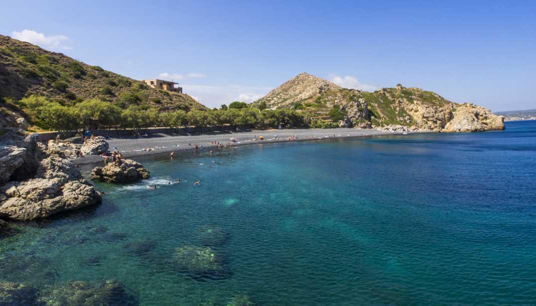 Mavra Volia is the trademark beach of Chios…