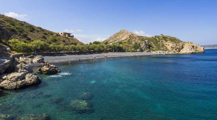 Mavra Volia is the trademark beach of Chios…