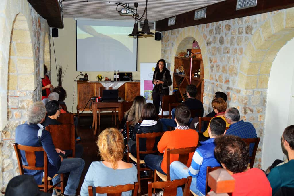 Ioanna presenting info about wine history