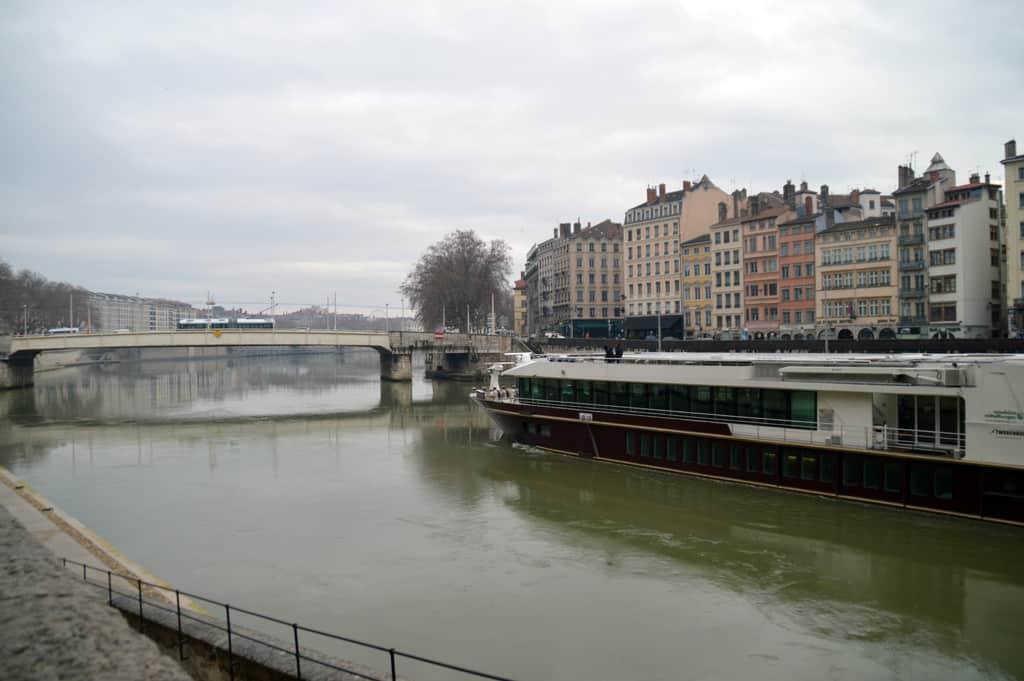 Lyon, the bridge crossing from Place Bellecur