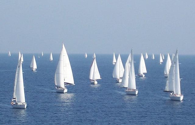 Sailing yachts racing in the Saronic gulf