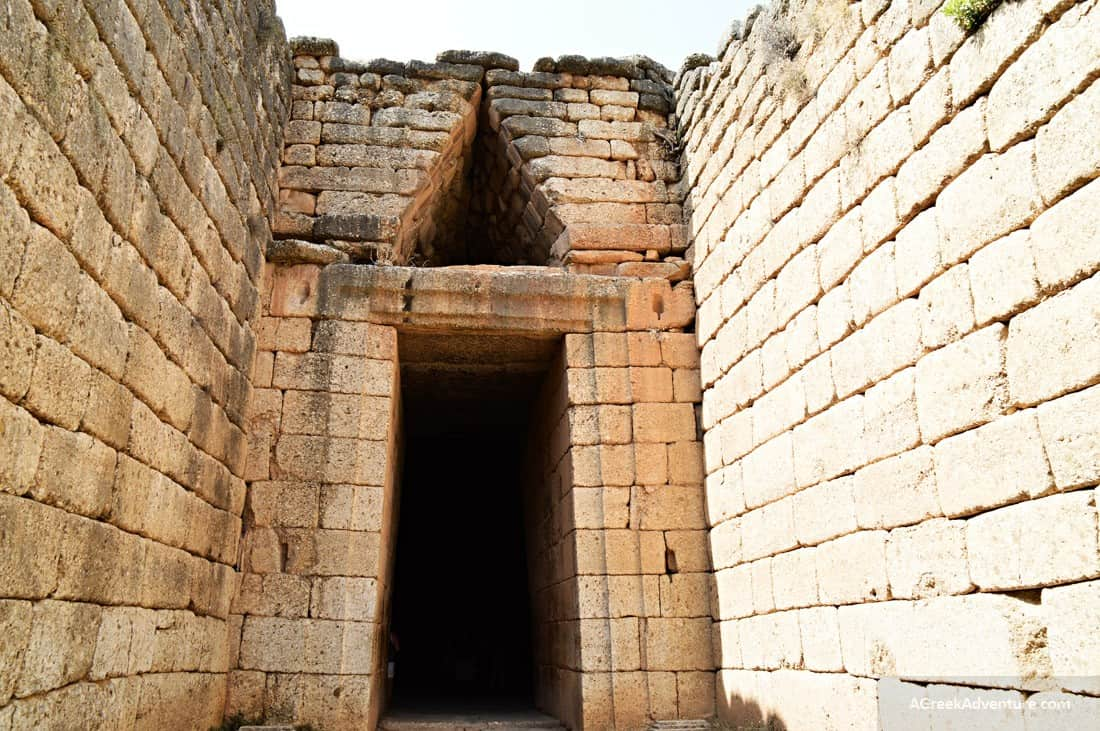 Our Ancient Mycenae Family Day Trip in Greece. The tholos tomb entrance