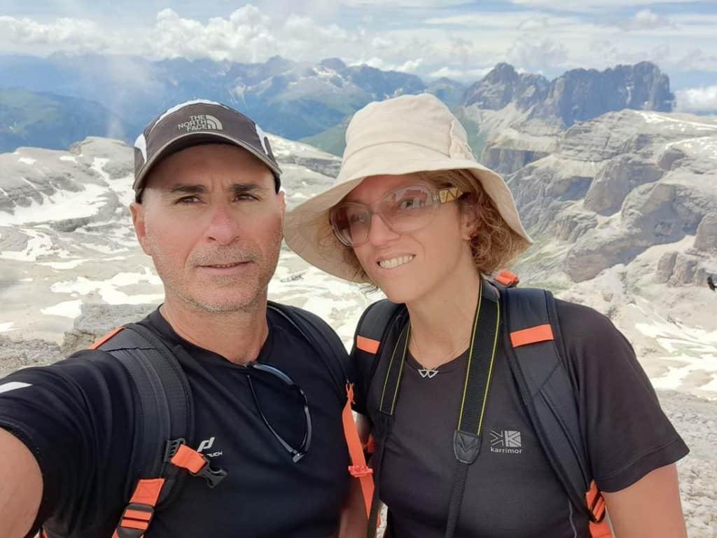 At the top of Piz Boe in Dolomites
