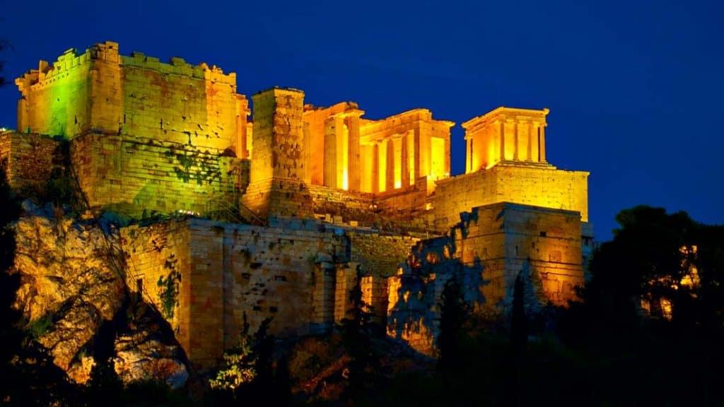 night view of  acropolis of athens